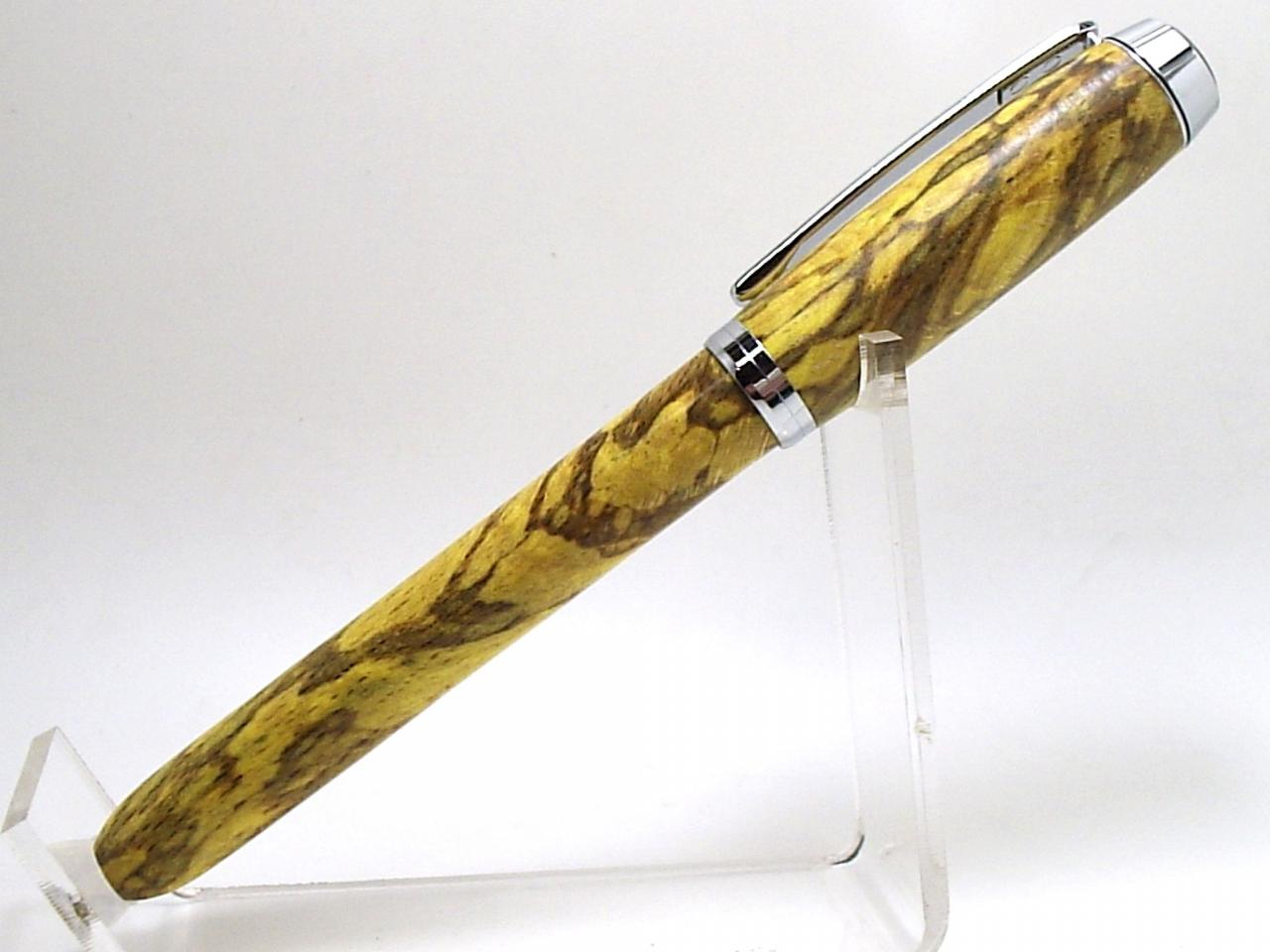 plume Empreinte en hêtre échauffé éco-stabilisé jaune et chrome 2