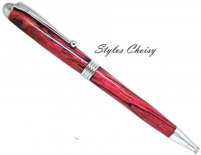 Stylo bille collection Sagesse hêtre échauffé écostabilisé rouge