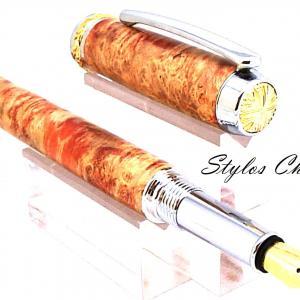Plume desir loupe d erabe negundo ecostabilisee orange platine et or 10 carat3