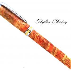 Plume desir loupe d erabe negundo ecostabilisee orange platine et or 10 carats