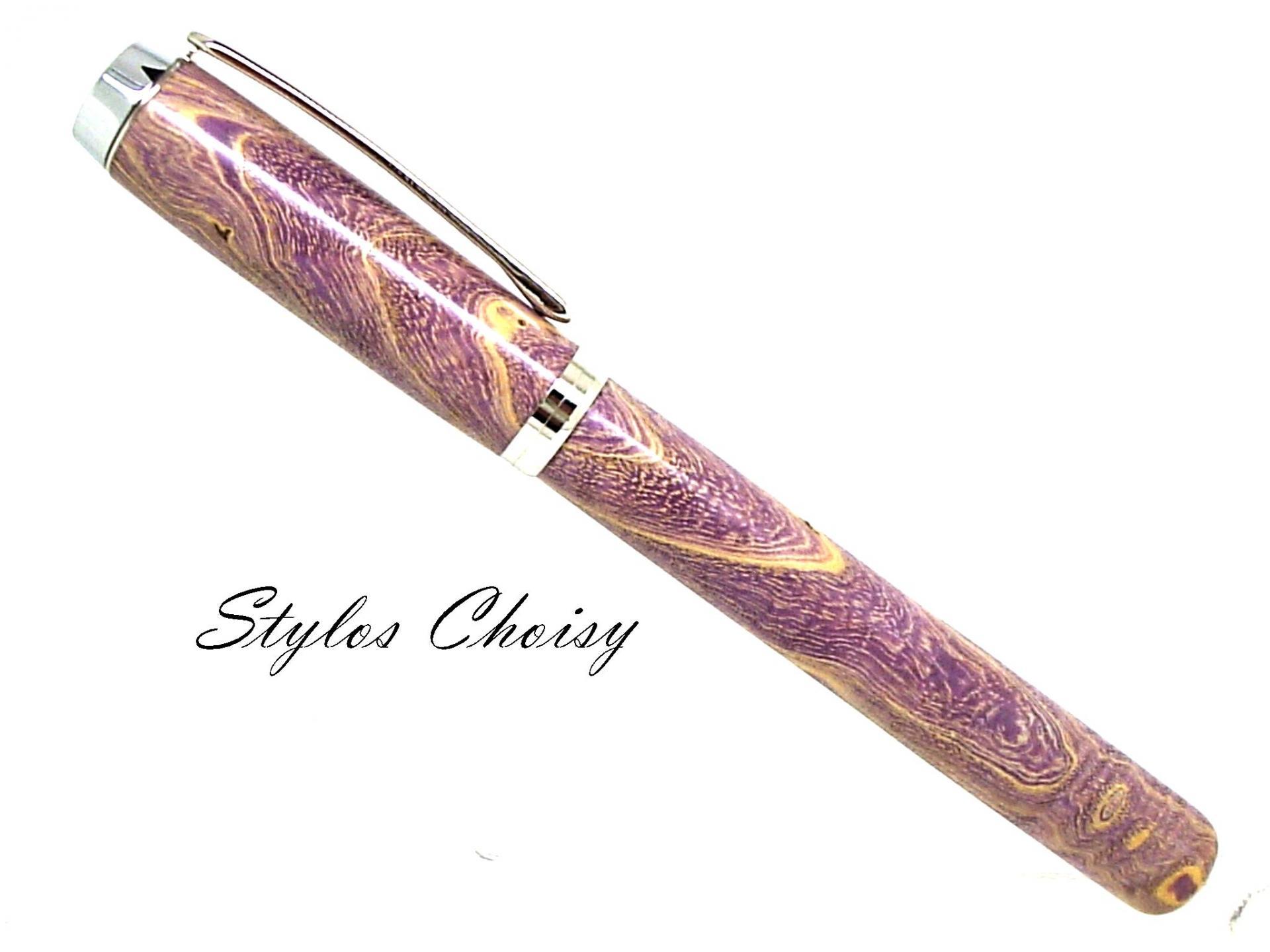 Plume empreinte loupe de frene ecostabilise violet et platine 1