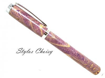 """Stylo plume """"Empreinte"""" en loupe de frêne éco-stabilisé violet"""