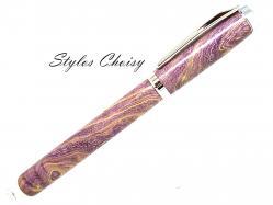 Plume empreinte loupe de frene ecostabilise violet et platine 2