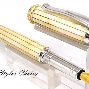 Plume ou roller reflexion nacre d abalone blanche du pacifique platine et or 22k plume n 5 or 18k ou palladium 10