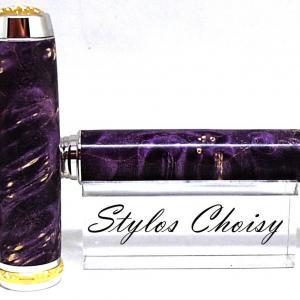 Plume reflexion loupe d erable negundo ecostabilise violet platine et or 14 carats 4