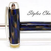 Plume serenite galalithe marbree bleue et brune platine et titanium 6