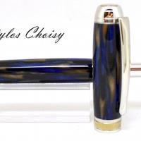 Plume serenite galalithe marbree bleue et brune platine et titanium 7