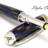 Plume serenite galalithe marbree bleue et brune platine et titanium 8