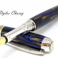 Plume serenite galalithe marbree bleue et brune platine et titanium 9