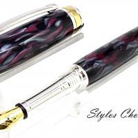 Plume serenite galalithe violette grise et noire platine et titanium 4