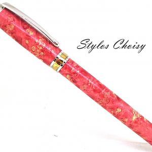 Plume serenite loupe d erable negundo stab rouge platine et titanium 1