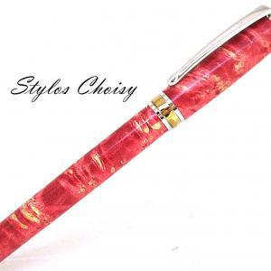 Plume serenite loupe d erable negundo stab rouge platine et titanium 2