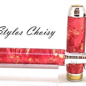 Plume serenite loupe d erable negundo stab rouge platine et titanium 4