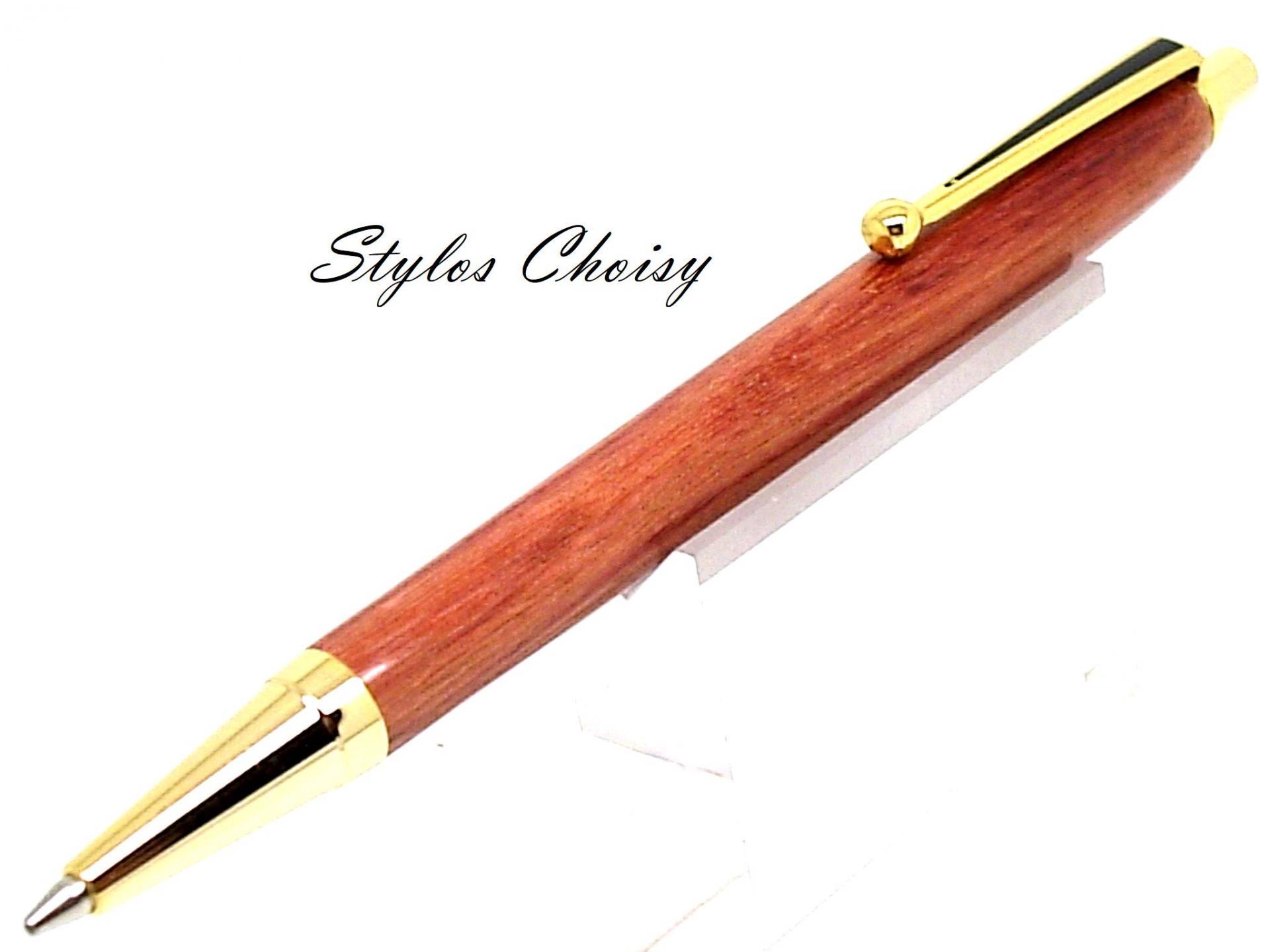 Portemine arc en bois de rose et or 10 carats 3