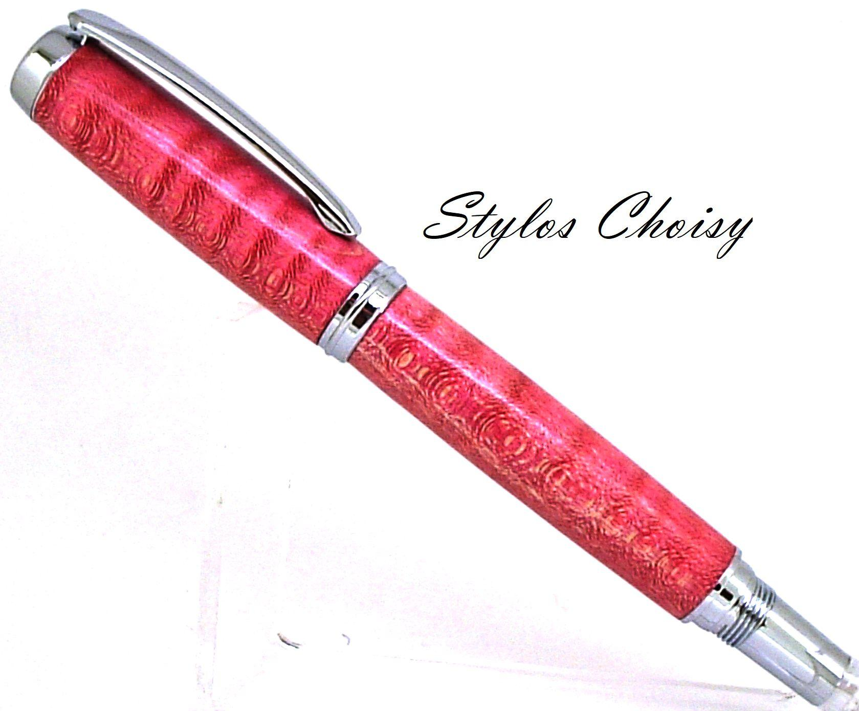 Roller decouverte erable sycomore onde ecostabilise rose rouge et chrome 1