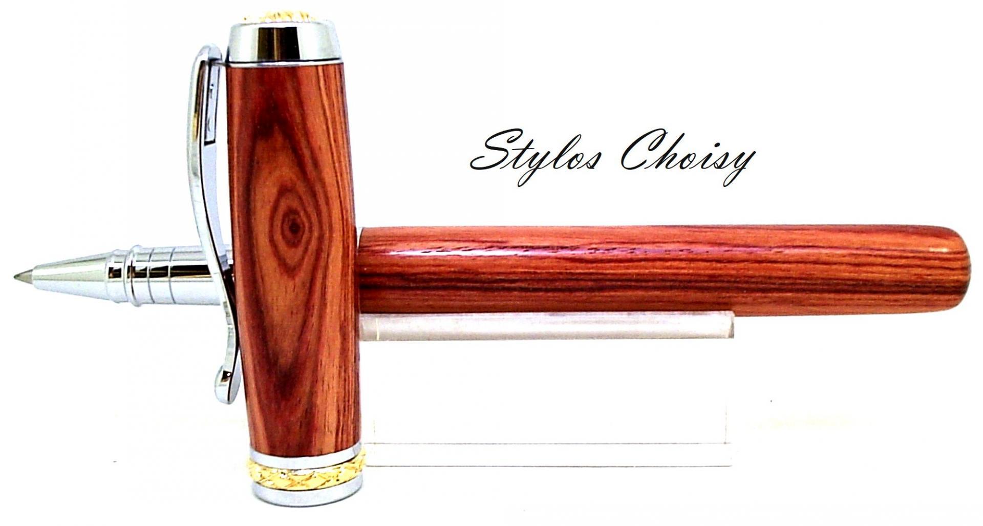 Roller desir palissandre bois de rose platine et or 14 carats 3