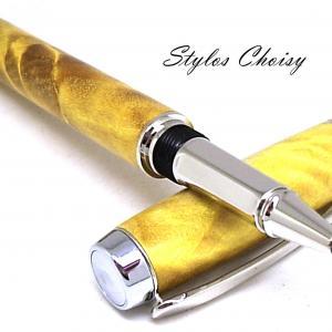 Roller empreinte forche de peuplier ecostabilisee jaune platine et or 10 carats 4