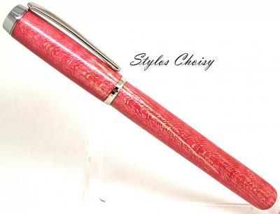 Roller collection Empreinte en érable sycomore ondé écostabilisé rouge