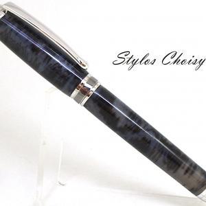 Roller serenite galalithe gris noir flamme platine et titane 1