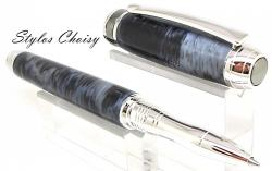 Roller serenite galalithe gris noir flamme platine et titane 3
