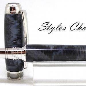 Roller serenite galalithe gris noir flamme platine et titane 5