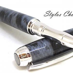 Roller serenite galalithe gris noir flamme platine et titane 6