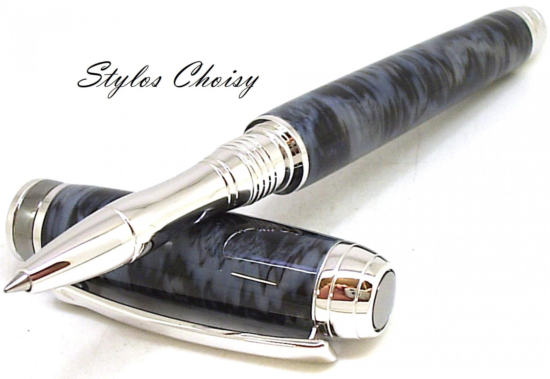 Roller serenite galalithe gris noir flamme platine et titane 7