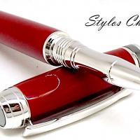 Roller serenite galalithe rouge brun platine et titane 5