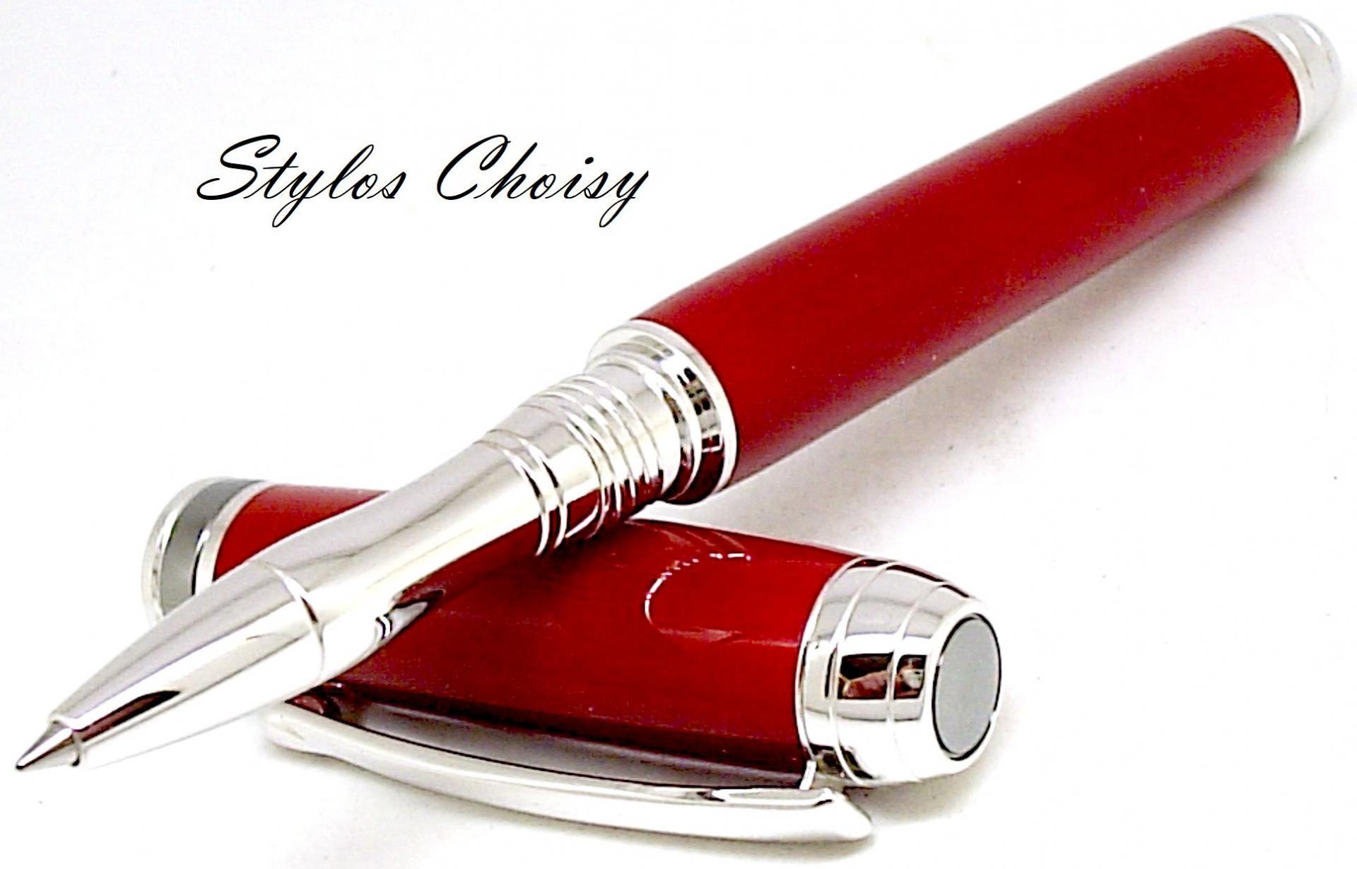 Roller serenite galalithe rouge brun platine et titane 6
