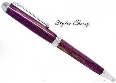 Stylo bille collection Sagesse en hêtre échauffé écostabilisé violet