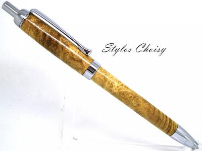 "Stylo bille collection ""Tentation"" en loupe d'acacia de Sologne"